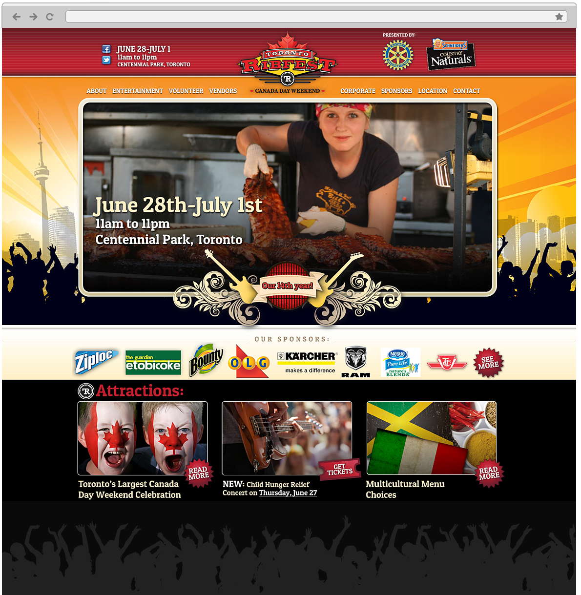 Web design for Toronto Ribfest