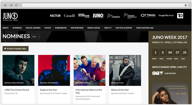 JUNO Awards Web Design