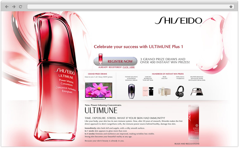 Shiseido Web Design in Toronto